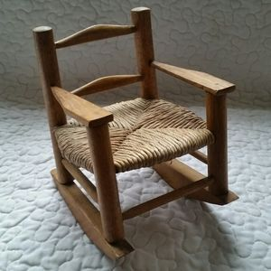 Vintage Mini Wood Woven Seat Rocking Chair Bear